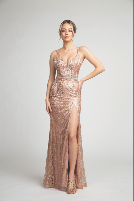 Gorgeous Prom Gown with Glitter Design and Sexy Leg Slit #FA53124