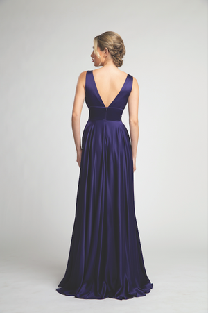 Stunning Flowy Satin Gown with Deep V-Neckline and Sexy Leg Slit #FA05101
