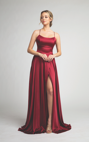 Sultry Satin Gown with Leg Slit and Open Back Design #FA05103
