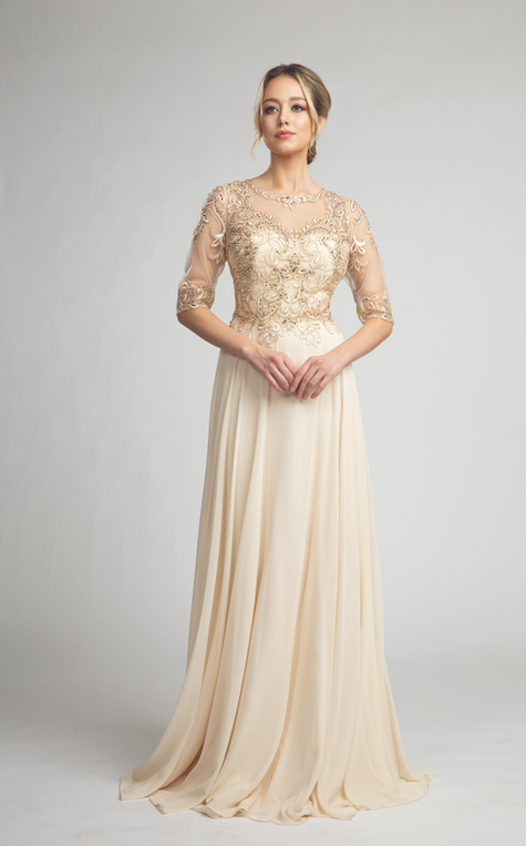 Stunning Long Sleeve Gown with Sheer Gold Detailed Top #FA87109