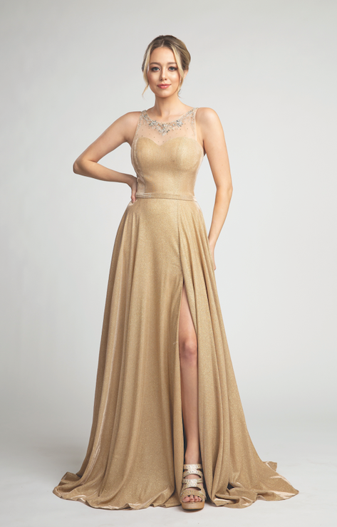 Elegant Shimmering Dress with Sheer Crystal Top and Leg Slit #FA053128