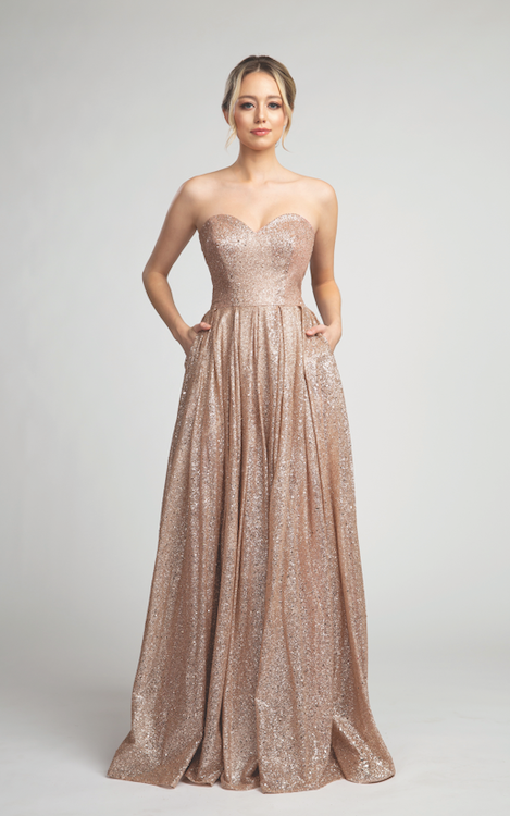 Stunning Sparkly Long Gown with Sweetheart Neckline and Pockets #FA053117