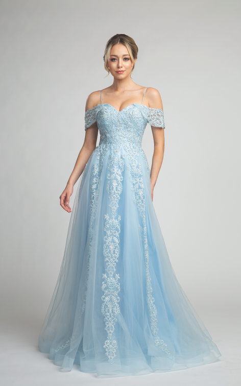 Stunning Off Shoulder Ball Gown with Embroidered Design #FA57060