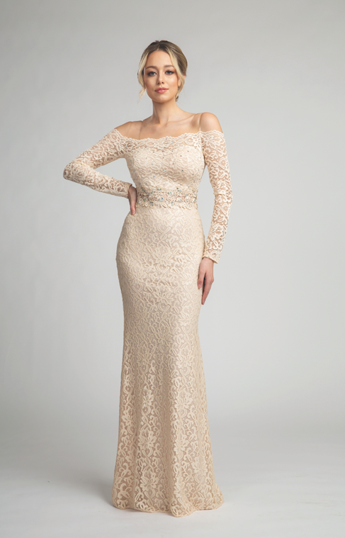 Elegant Lace Off Shoulder Gown with Long Sleeves #FA0139