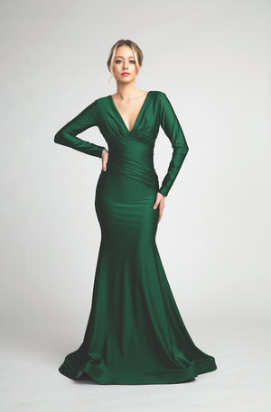 Elegant Long Sleeve Satin Cinched Gown in Mermaid Style #FA07202