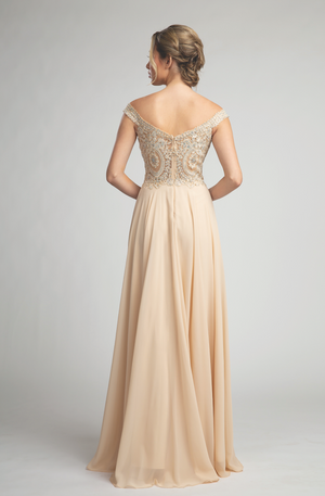 Gorgeous Embroidered Long Gown with Crystal Detailing and Leg Slit #FA053096