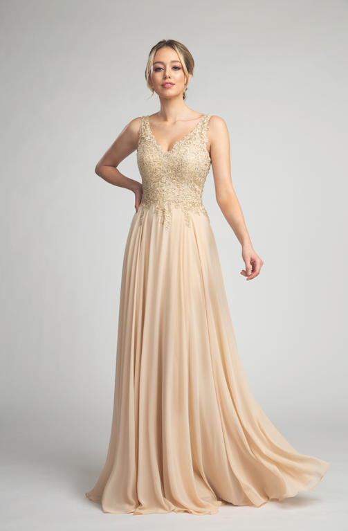 Stunning Long Gown with Lace Detailing and Flowy Skirt #FA053065