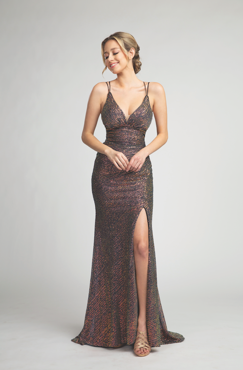 Gorgeous Deep V-Neckline Gown with Sultry Leg Slit #FA015504