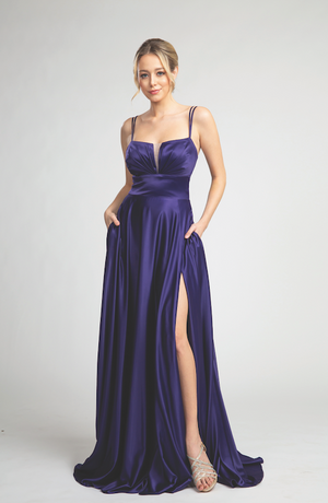 Elegant Satin Long Gown with Pockets and Sultry Leg Slit #FA05104