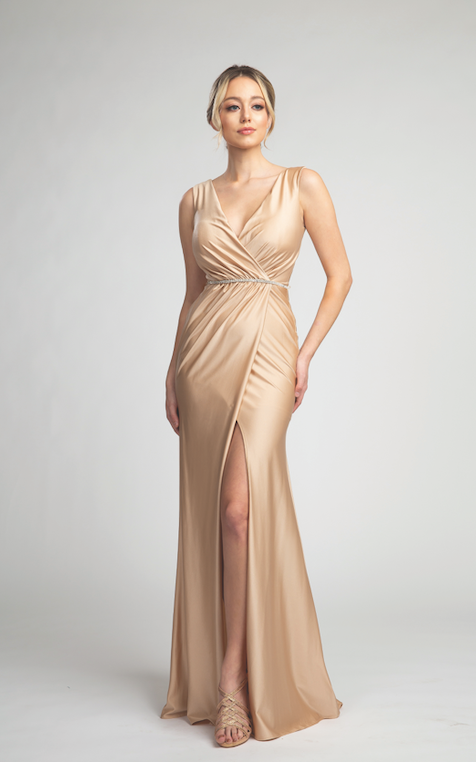 Elegant Long Satin Gown with Wrapped Design and Glitter Belt #FA07201