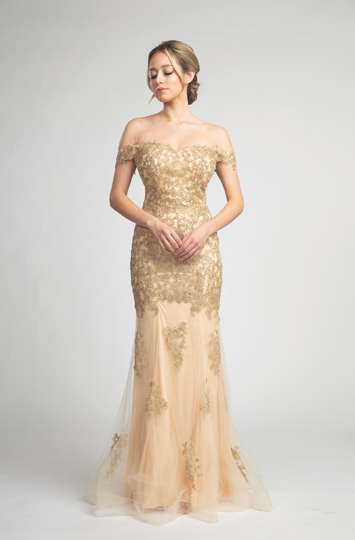 Gorgeous Off Shoulder Gown with Glitter Embroidery #FA057046
