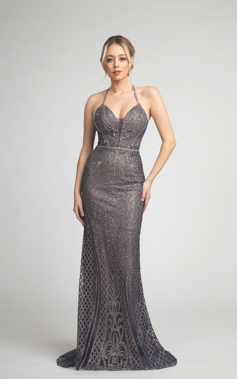 Stunning Glitter Embellished Long Gown with Embroidered and Bead Detailing #FA057045