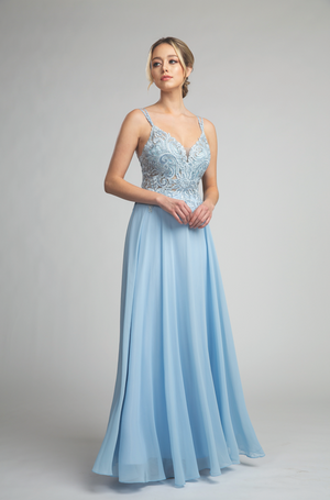 Gorgeous Lace Bodice Long Gown with Fitted Waist #FA053118