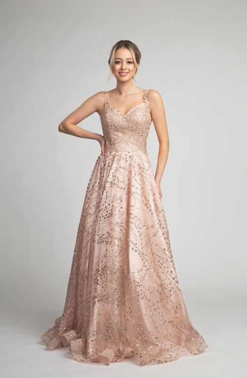 Gorgeous Prom Gown with Embroidered Bodice and Glitter Detailed Skirt #FA010251