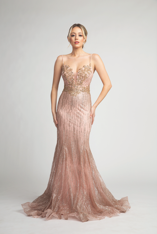 Stunning Deep Neckline Mermaid Style Gown with Glitter Detailing #FA010258
