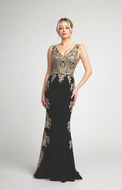 Elegant Fitted Long Gown with Gold Embroidery #FA053060