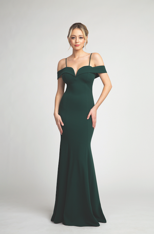 Elegant Off Shoulder Gown with Fitted Bodice and Deep Neckline #FA0100