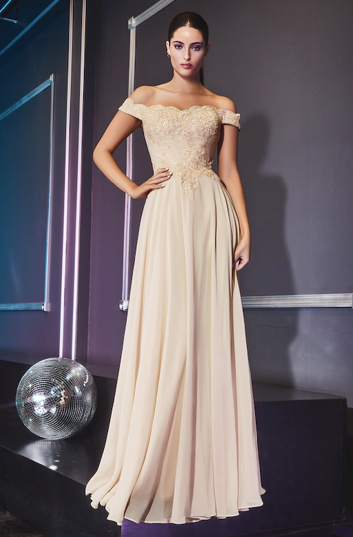 Elegant Off Shoulder Long Gown with Embroidered Bodice and Long Skirt #CD7258