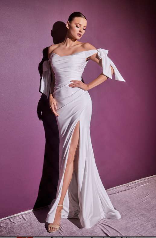 Opulent Off Shoulder Fitted Gown with Sleeve Accents and Leg Slit #CDCD944W