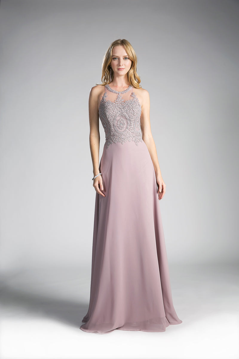 Stunning Chiffon Long Dress With Austrian Crystal Embroidery | Norma Reed