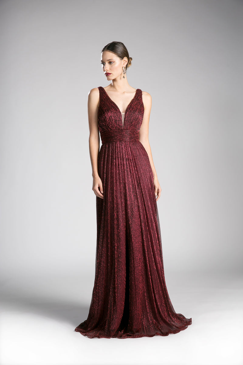 Shimmering Chiffon Long Dress With Deep V Neckline | Norma Reed