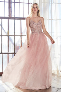 Lace & Crystal Ball Gown With Net Overlay Style #LAAM321 | Prom 2020