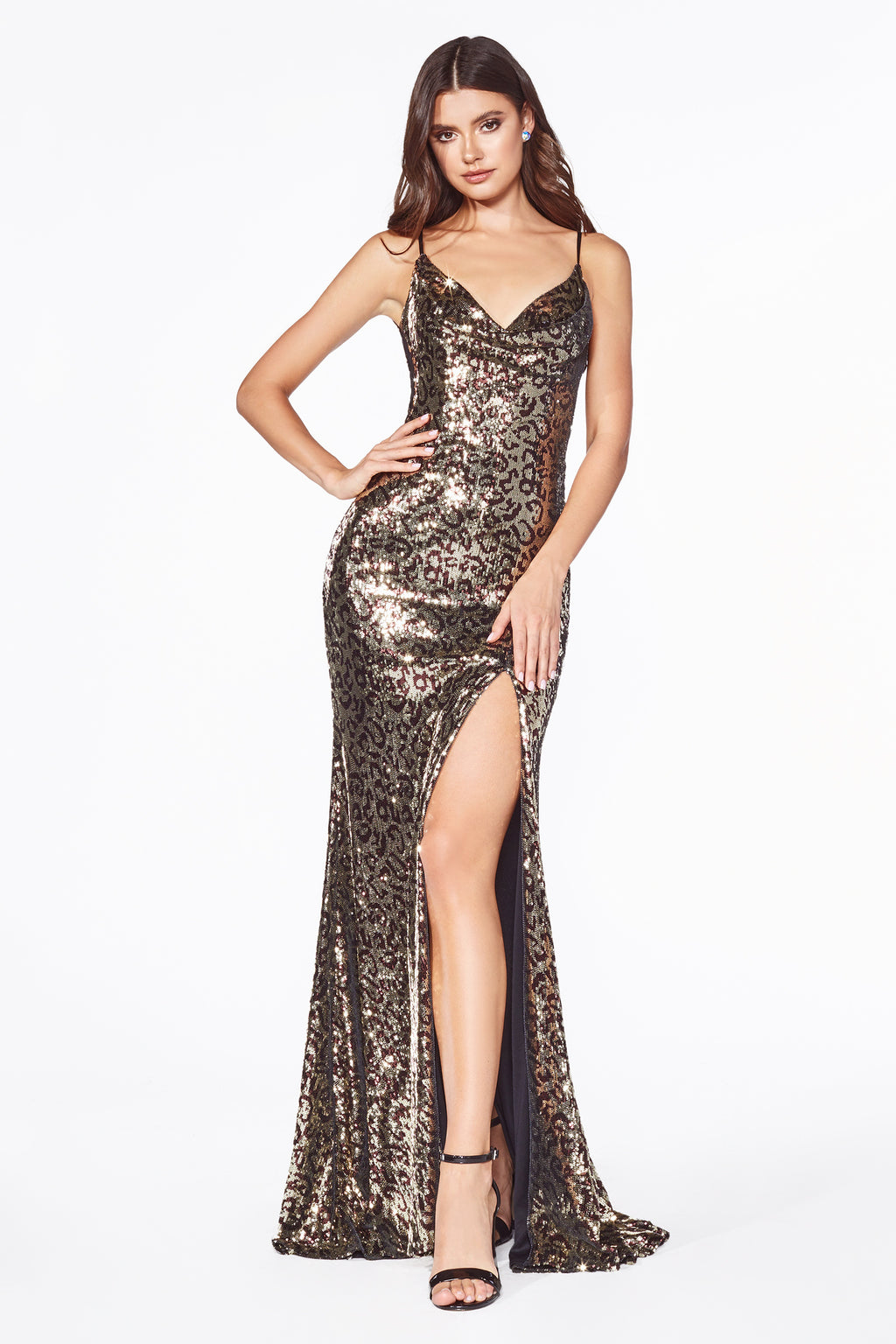 Leopard Sequin Dress With Sexy Leg Slit Style #LAC19 | Prom 2020