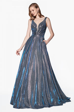 Shimmering Glitter Grey & Royal Blue Swirl Ball Gown Style #cicb0034 | 2019 Prom New Arrivals