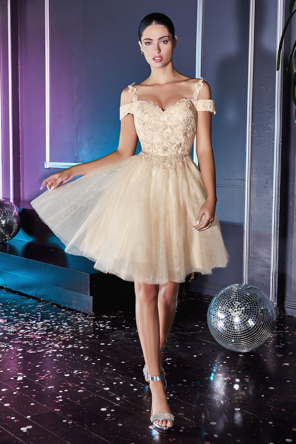 Cute Short Ball Gown with Embroidered Bodice and Shimmering Skirt #CDCD0132