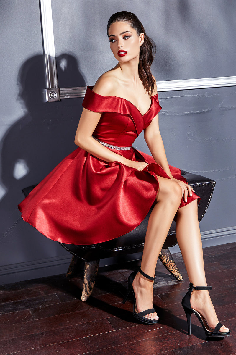 Stunning Short Off Shoulder Satin Gown with Glitter Belt #CDCD0140