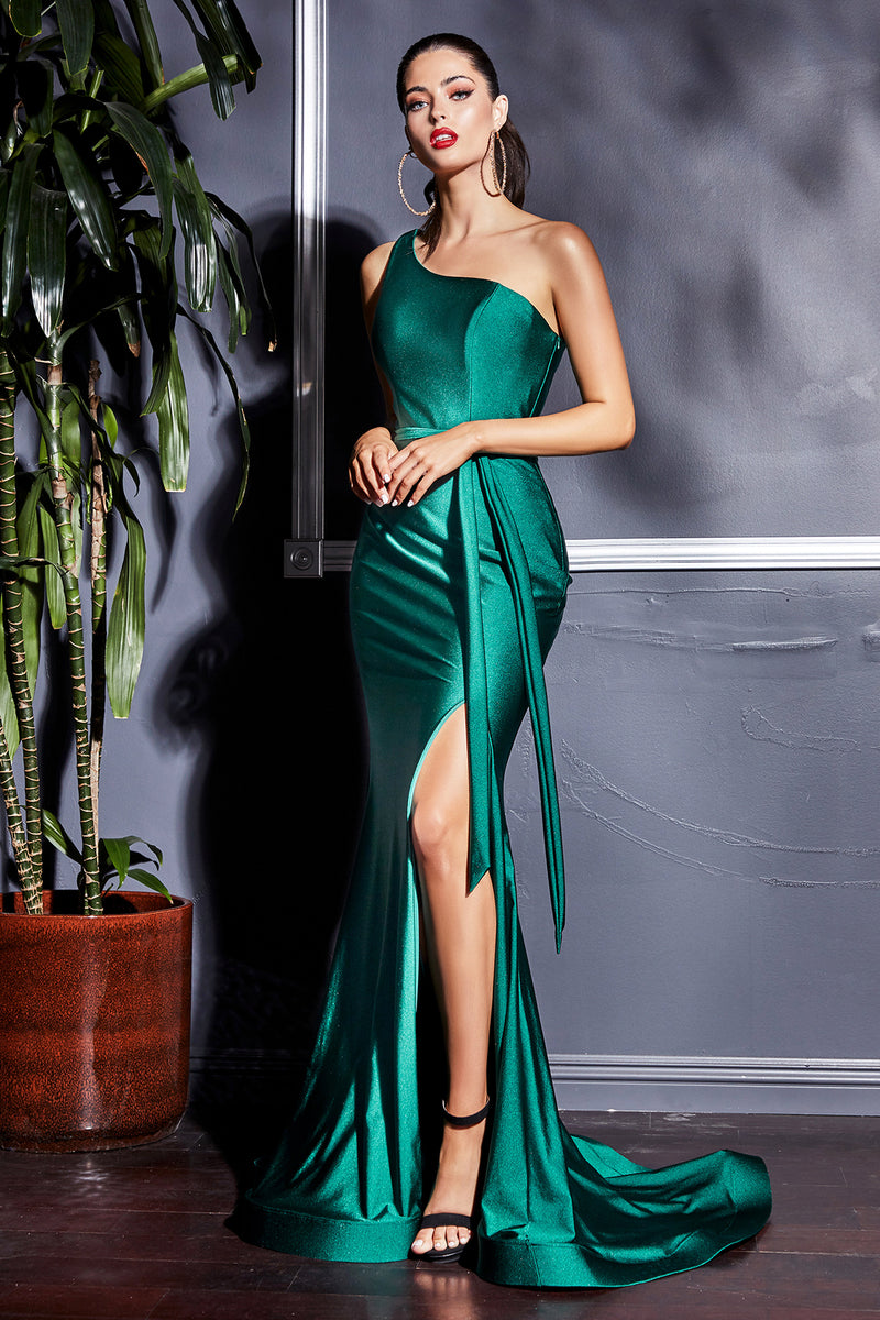 One-Shoulder Formal Fitted Gown with Wrapped Belt and Leg Slit #CDCD0143