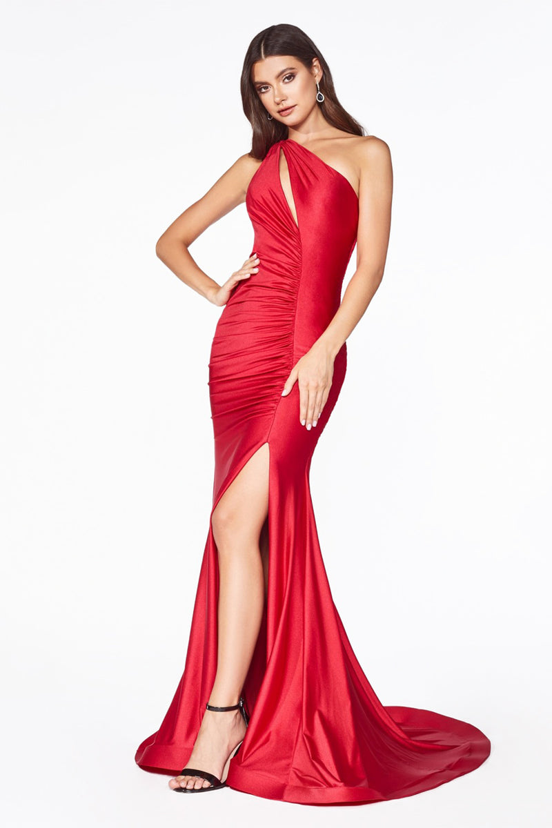 One Shoulder Slit Leg Gown Style #LACD0146 | Prom 2020