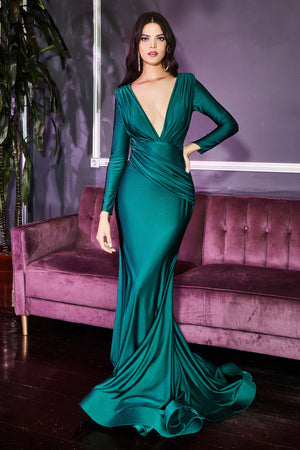Elegant Open Neckline Long Sleeve Gown with Long Skirt #CDCD0168