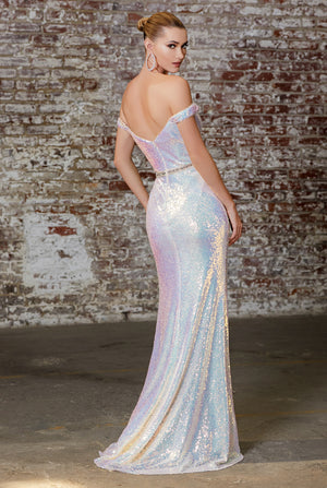 Shimmering Opal Off Shoulder Dress With Leg Split Style #LACD158 | Prom 2020