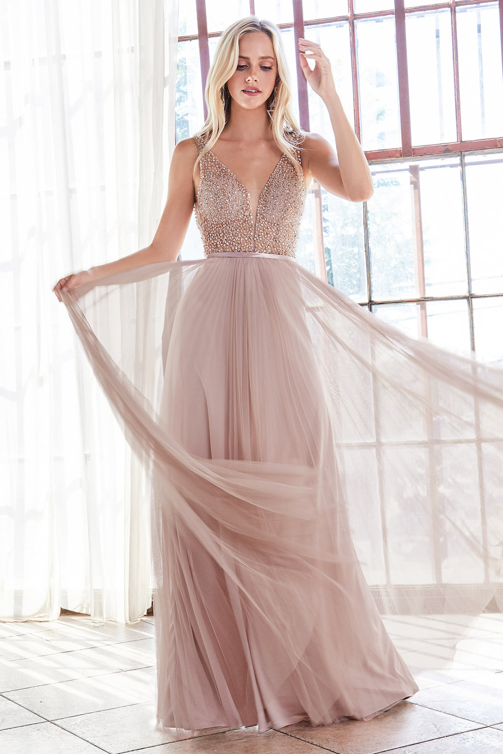 Flowing Chiffon Gown with Austrian Crystal Style #LACD192 | Prom 2020