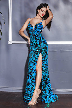 Stunning Long Gown with Floral Print Design and Sexy Leg Slit #CDCD207