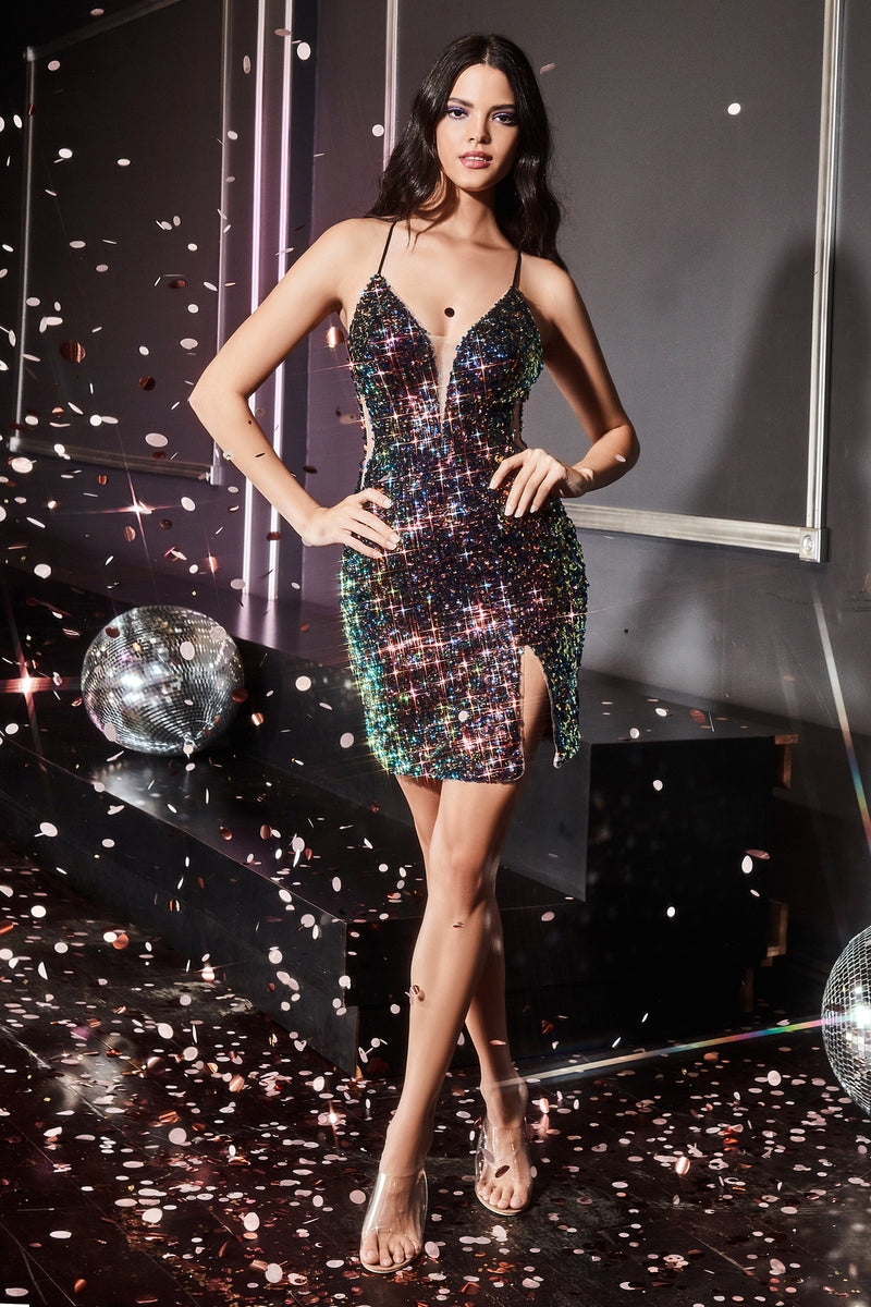 Gorgeous Iridescent Short Gown with Mini Leg Slit #CDCD209S