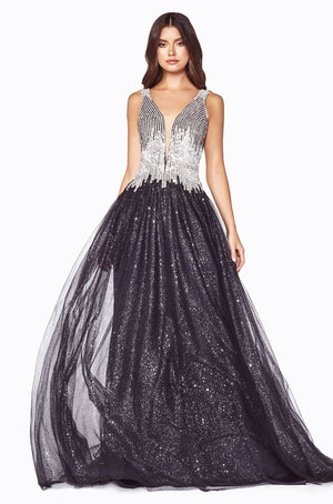 Austrian Crystal Corset Gown With Metallic Chiffon Skirt Style #LACD70 | Prom 2020