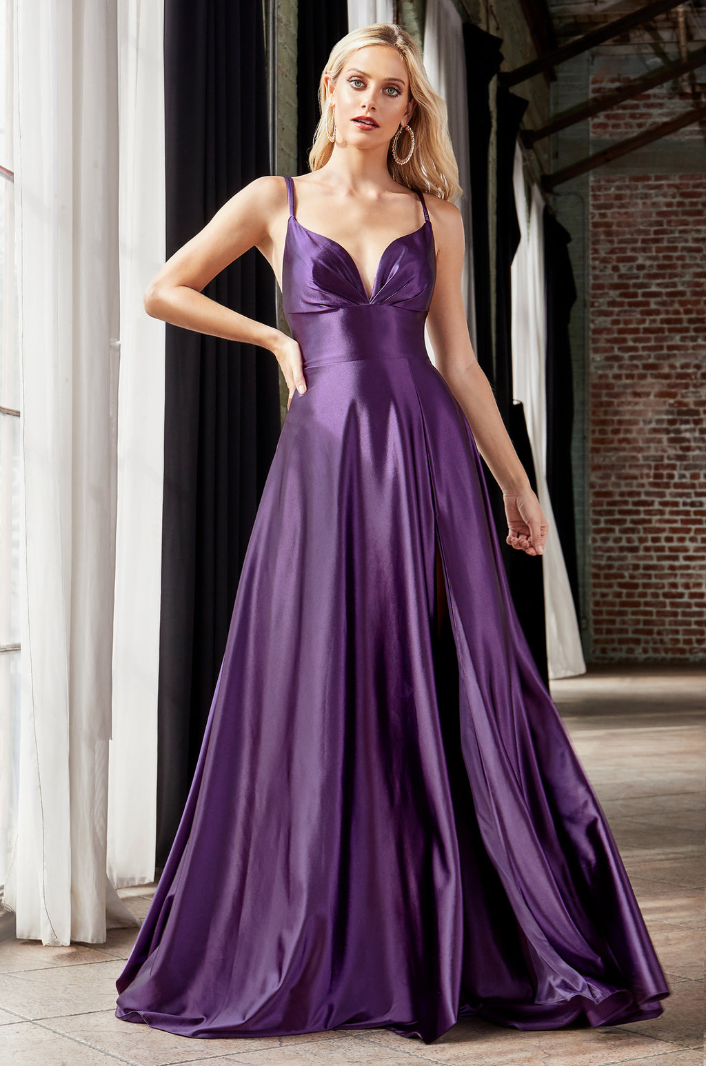 Long Chiffon Dress With Leg Slit Style #LACD903 | Prom 2020