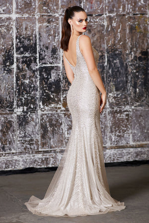 Metallic Crystal Sequin Flowing Gown with Leg Slit Style #LACD905 | Prom 2020