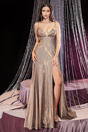 Shimmering Deep Neckline Gown with Sultry Leg Slit #CDCD906