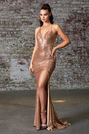Golden Shimmering Movie Star Gown With Leg Slit Style #LACDS372 | Prom 2020