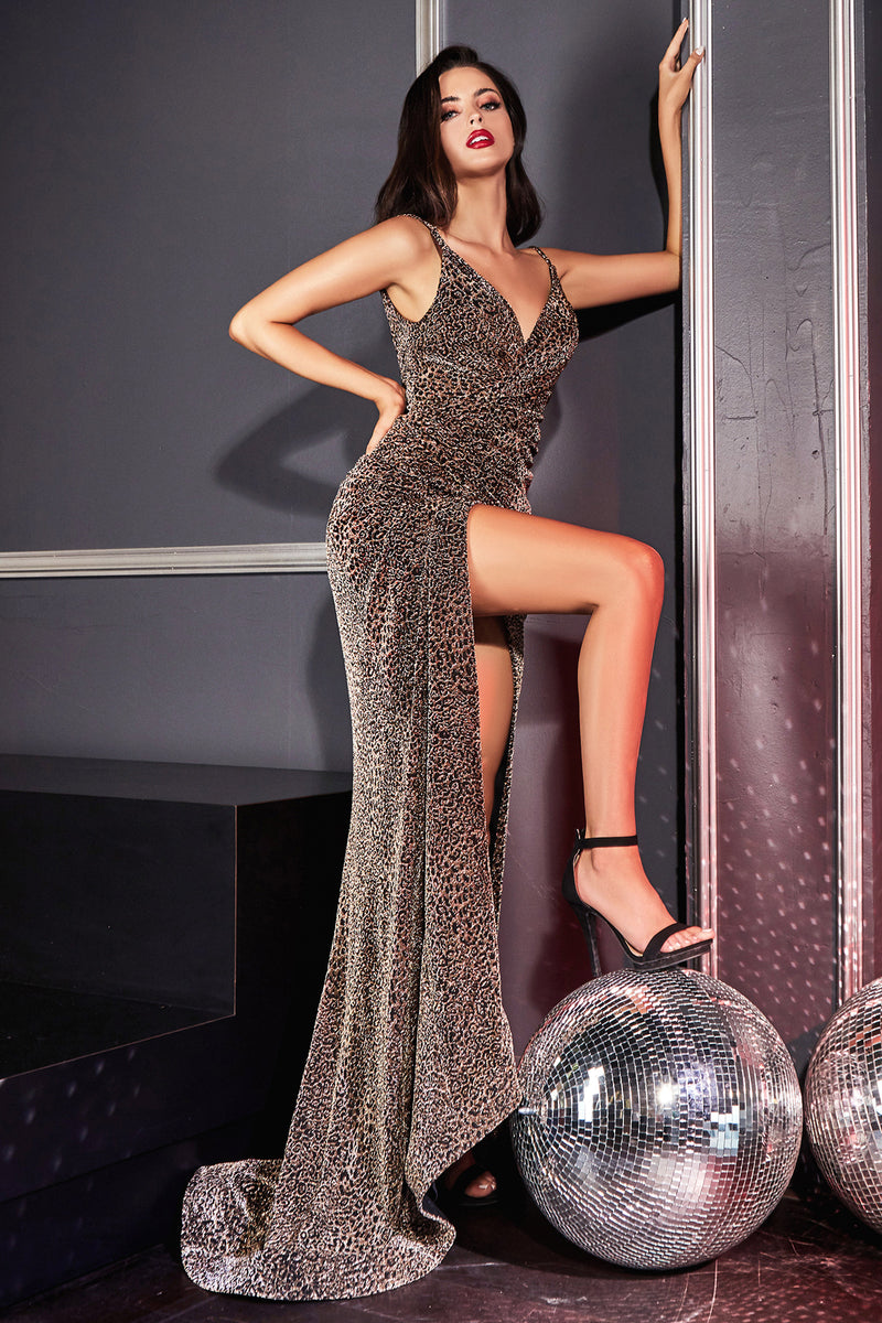 Shimmering Cheetah Print Long Gown with Leg Slit and Long Skirt #CDCDS347