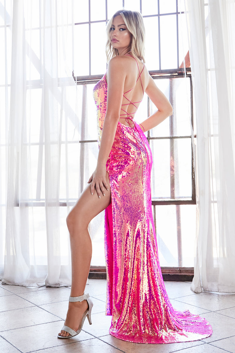 Shimmering Long Dress With Sexy Leg Split Style #LACDS393 | Prom 2020