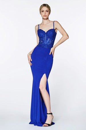 Sexy Corset Embroidered Prom Dress With Leg Slit Style #cicf266 | 2019 Prom New Arrivals