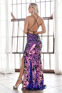 Shimmering Ultraviolet Long Dress With Split Leg Style #LACF345 | Prom 2020