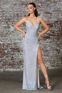 Shimmering Long Dress With High Leg Split Style #LACH226 | Prom 2020