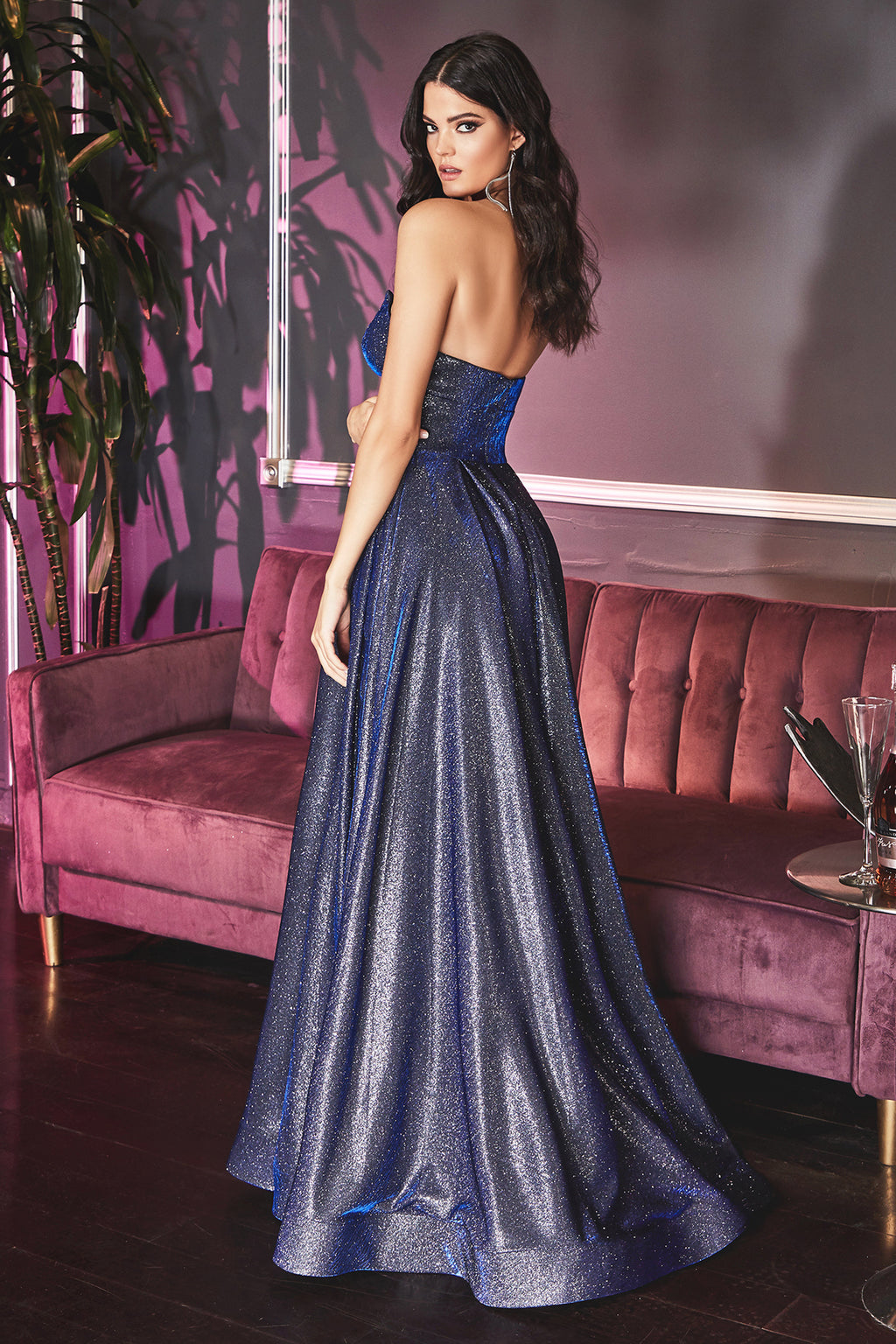 Shimmery Strapless Gown with Fitted Waist and Leg Slit #CDCJ522