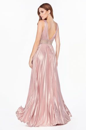 Metallic Shimmering Gown with Crystal Waist Belt Style #LACJ537 | Prom 2020