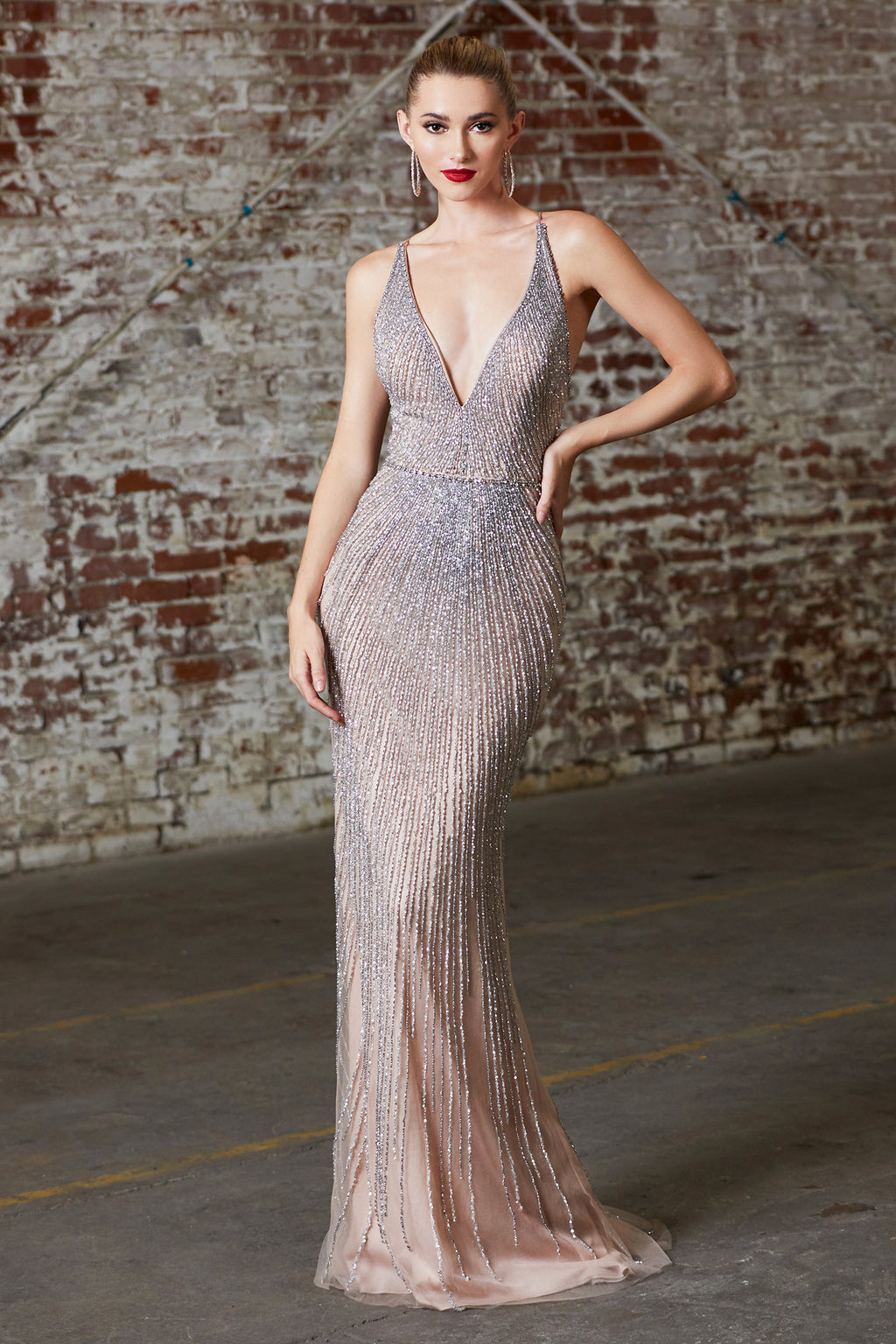 Shimmering Champagne Heavy Crystal & Sequin Gown Style #LACK920 | Prom 2020